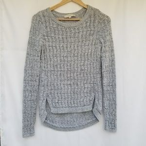 LOFT split hem knit sweater heather grey xs